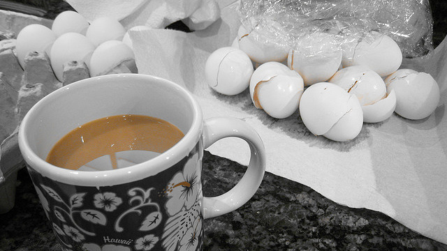 egg shell in cofee
